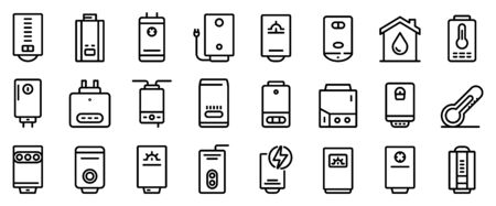 Boiler icons set. Outline set of boiler vector icons for web design isolated on white background
