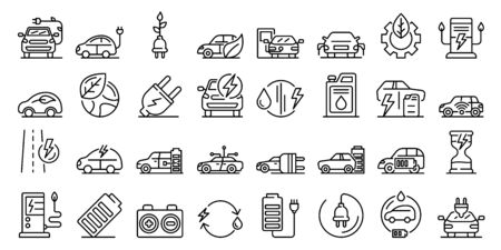 Hybrid icons set, outline style
