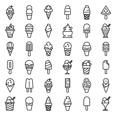 Ice cream icons set, outline style Ilustração