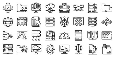 Data center icons set, outline style
