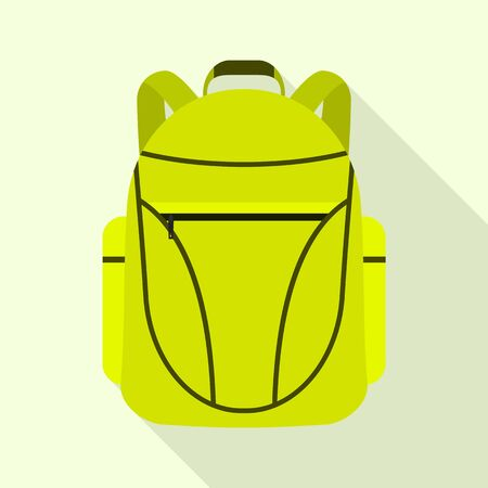 Green lime backpack icon, flat style