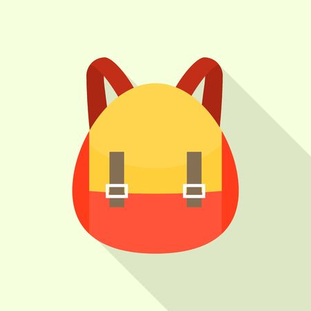 Red yellow backpack icon, flat style