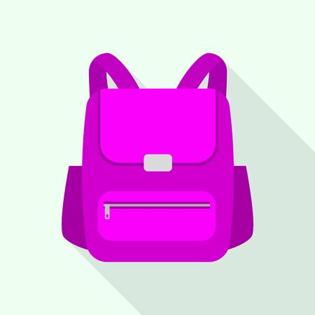 Pink girl backpack icon, flat style
