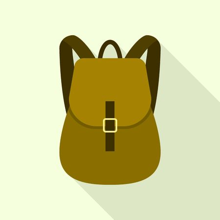 Textile backpack icon, flat style
