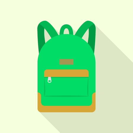 Green backpack icon. Flat illustration of green backpack vector icon for web design Stock Illustratie