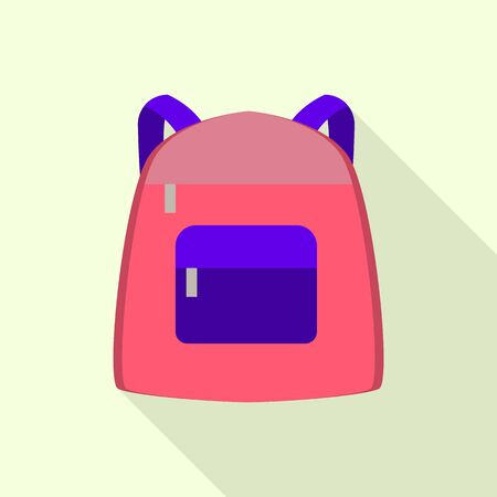 Modern backpack icon, flat style 向量圖像