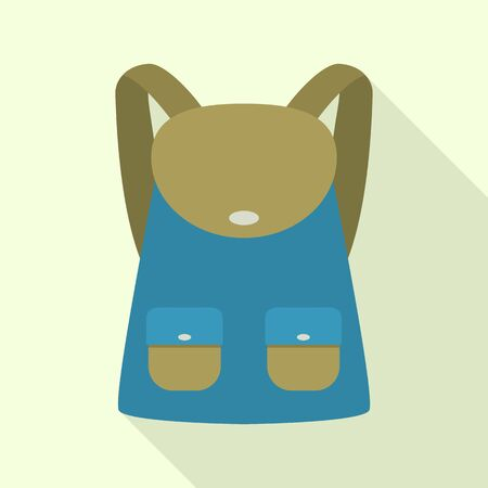 Travel backpack icon, flat style