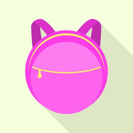 Pink round backpack icon, flat style