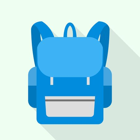 Blue school backpack icon, flat style