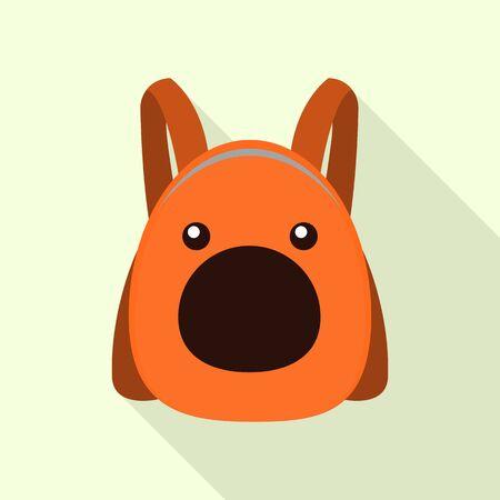 Funny animal backpack icon, flat style 向量圖像