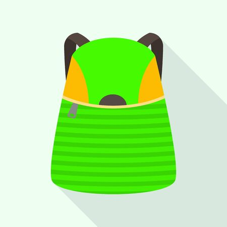 Kid green backpack icon, flat style