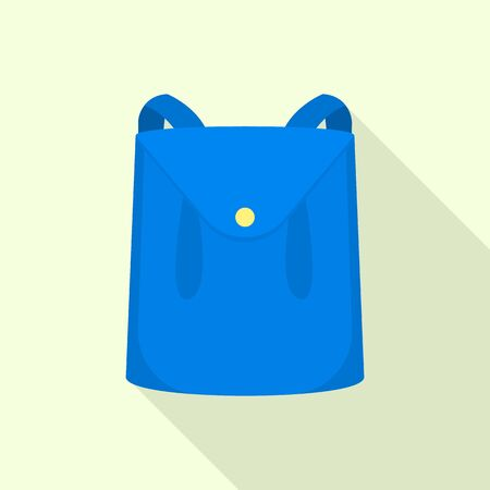 Blue leather backpack icon, flat style