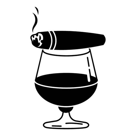 Cigar whiskey glass icon, simple style