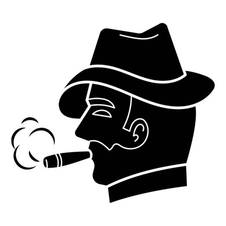 Cigar gentleman icon, simple style