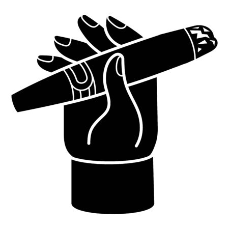 Cigar in hand icon, simple style