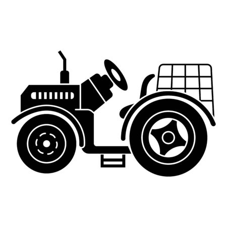 Farm tractor icon. Simple illustration of farm tractor vector icon for web design isolated on white background Çizim