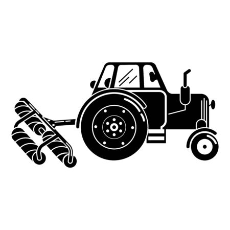 Tractor roller equipment icon, simple style