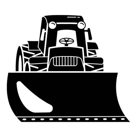 Tractor bulldozer icon, simple style