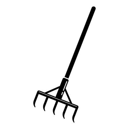 Garden rake icon, simple style