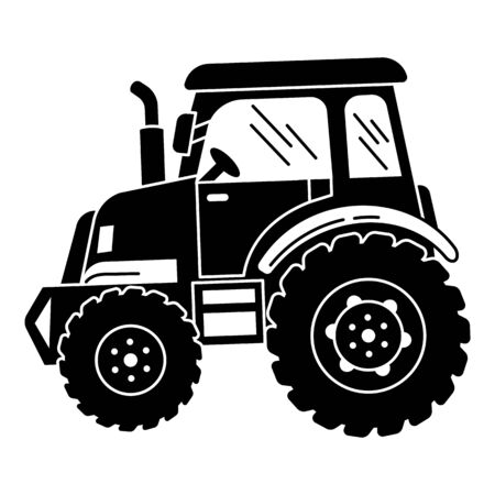 Big farm tractor icon. Simple illustration of big farm tractor vector icon for web design isolated on white background