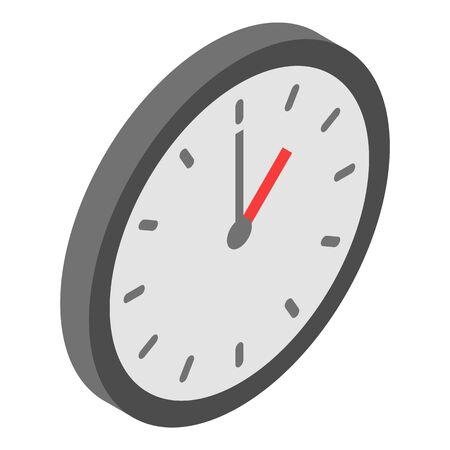Wall clock icon, isometric style