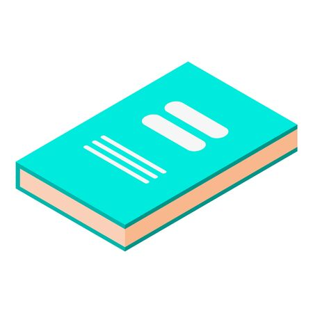Green book icon, isometric style