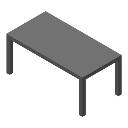 Black table icon, isometric style