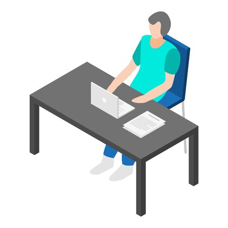 Office work table icon, isometric style