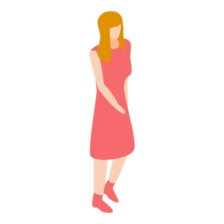 Girl in red dress icon, isometric style Illustration