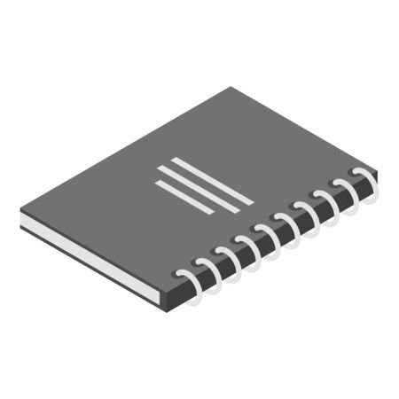 Paper notebook icon, isometric style