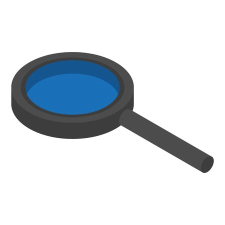 Black magnify glass icon, isometric style