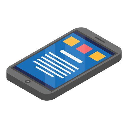 Smartphone icon, isometric style