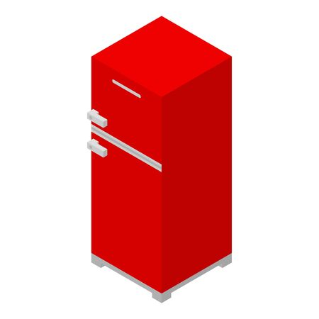 Red fridge icon, isometric style