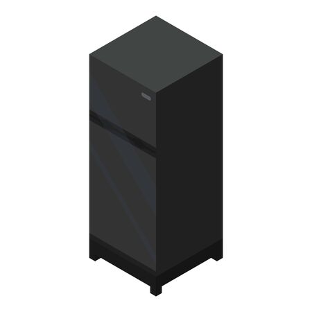 Black fridge icon, isometric style Çizim