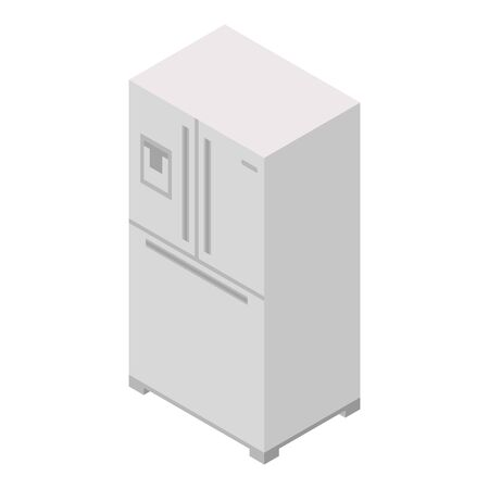 Metal fridge icon. Isometric of metal fridge vector icon for web design isolated on white background