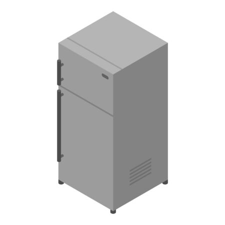 Grey fridge icon. Isometric of grey fridge vector icon for web design isolated on white background