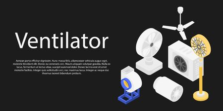 Ventilator set concept banner. Isometric illustration of ventilator set vector concept banner for web design Illustration