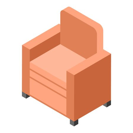 Red armchair icon, isometric style