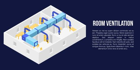 Room ventilation concept banner, isometric style Stock Illustratie