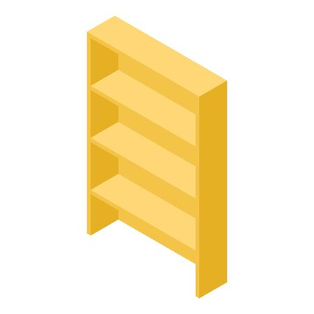 Yellow wood shelf icon, isometric style
