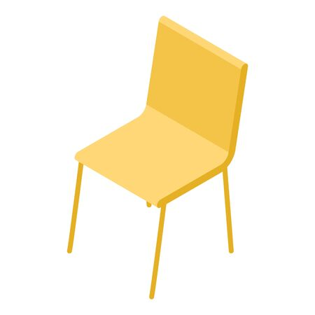 Yellow chair icon, isometric style