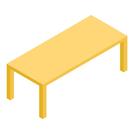 Wood yellow table icon, isometric style