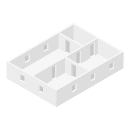 Office room plan icon, isometric style Çizim