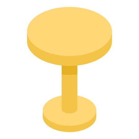 Round yellow table icon, isometric style Stock Illustratie