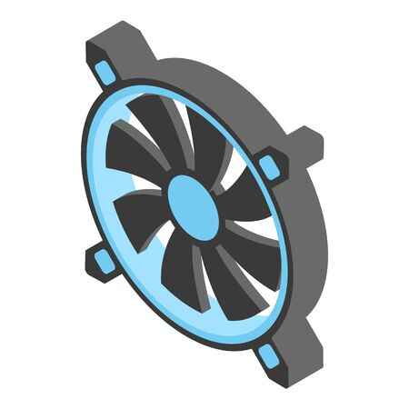 Cpu fan icon, isometric style