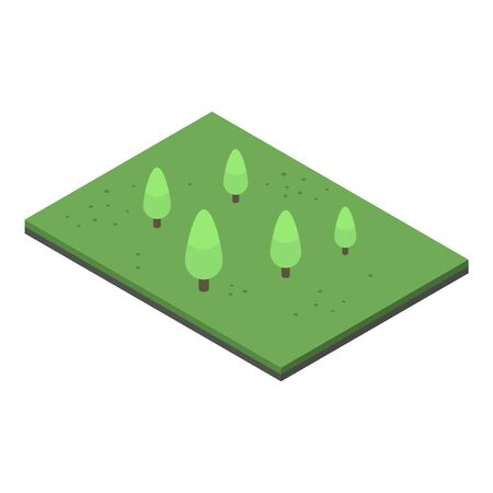 Piece of green park icon, isometric style Illustration