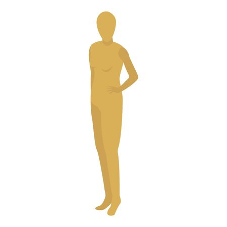 Gold mannequin icon, isometric style Illustration