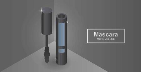 Mascara concept banner. Isometric illustration of mascara vector concept banner for web design Illustration