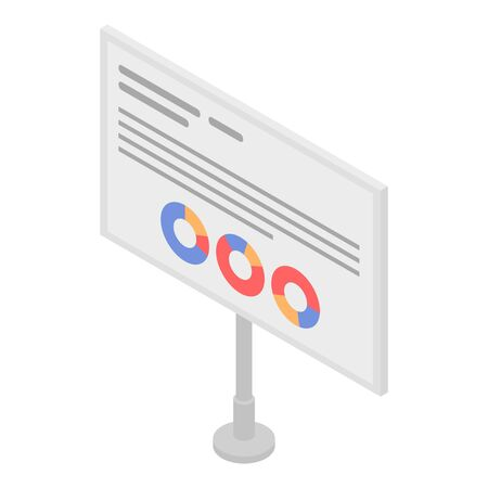 Chart board icon, isometric style