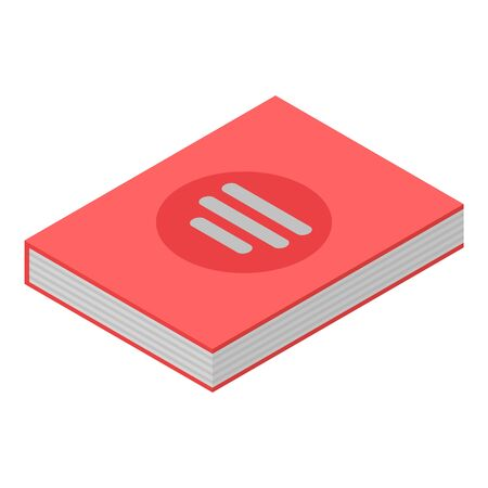 Red lab book icon, isometric style
